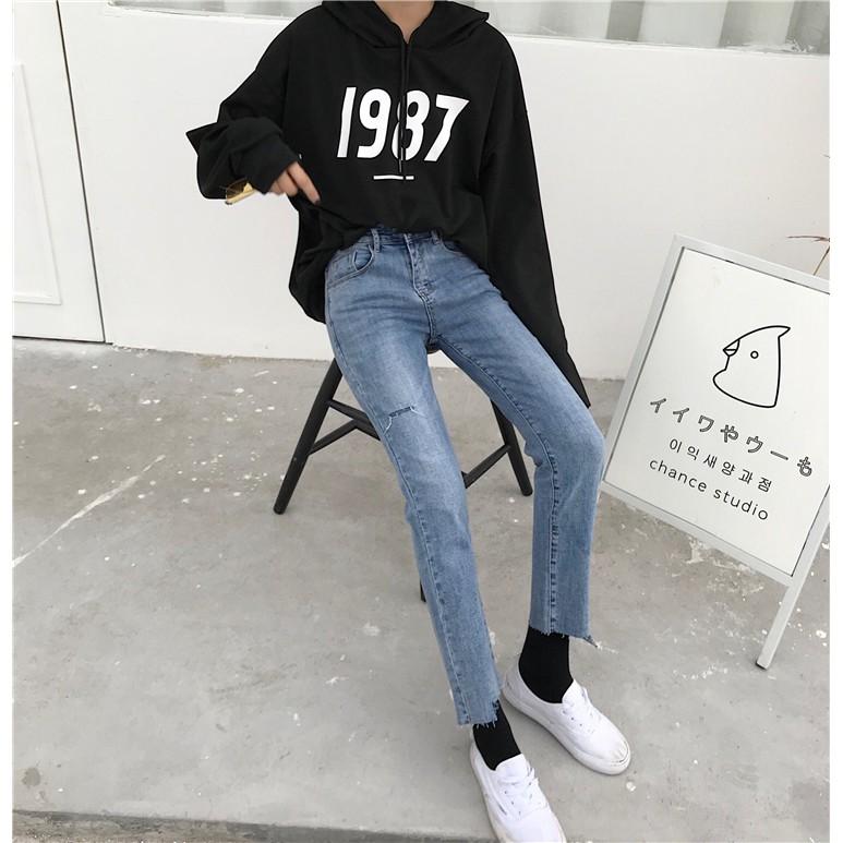 Quần Jean nữ rách gối phong cách Hàn Quốc