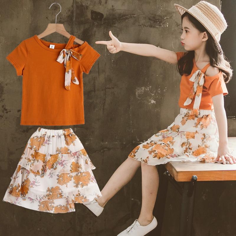 Bộ Áo Sơ Mi Ngắn Tay + Chân Váy Xinh Xắn Dành Cho Bé