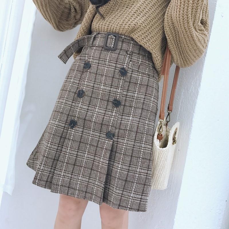 Chân váy nữ kẻ thu đông thiết kế phong cách Korean Student