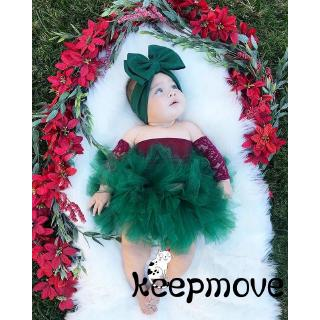 VD Christmas Newborn Toddler Baby Girl Lace T-shirt +Tutu Party Swing Skirt 0-18M