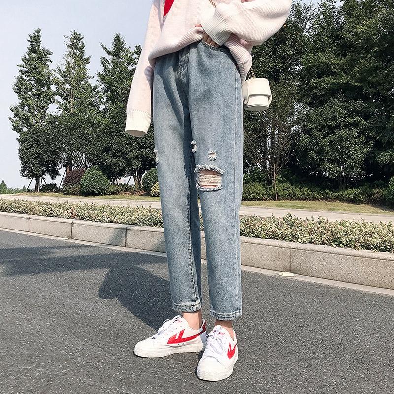 Quần jean dài dáng rộng lưng cao năng động thời trang mùa xuân hè dành cho nữ