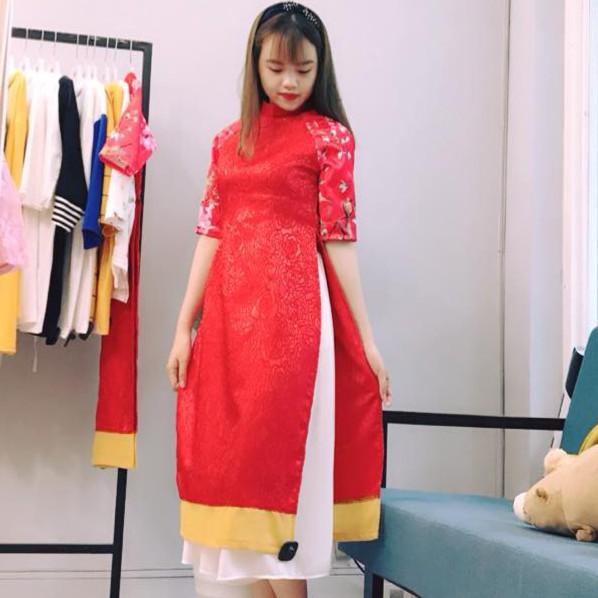 Set Áo Dài Gấm Cách Tân + Chân Váy