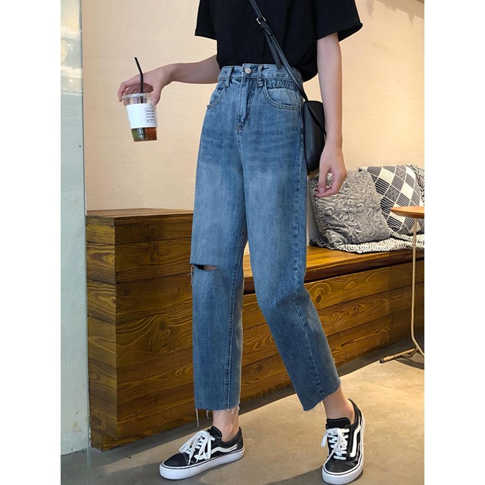 Quần Jeans Rách Lưng Thun Thời Trang Năng Động Cho Nữ
