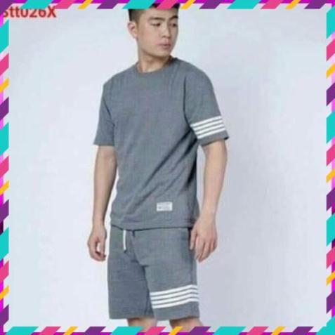 Bộ quần áo thun thể thao nam Sport phối sọc tay phong cách nam tính