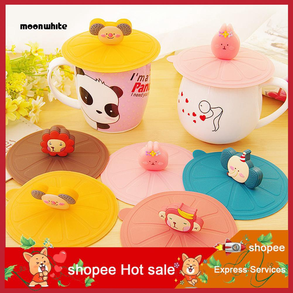 MW_10.8cm Cute Animal Silicone Leakproof Dustproof Sealed Coffee Mug Cup Lid Cover