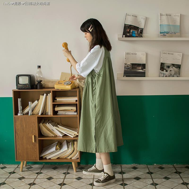 Set Áo Thun Ngắn Tay+đầm Yếm Phong Cách Retro Nhật Bản