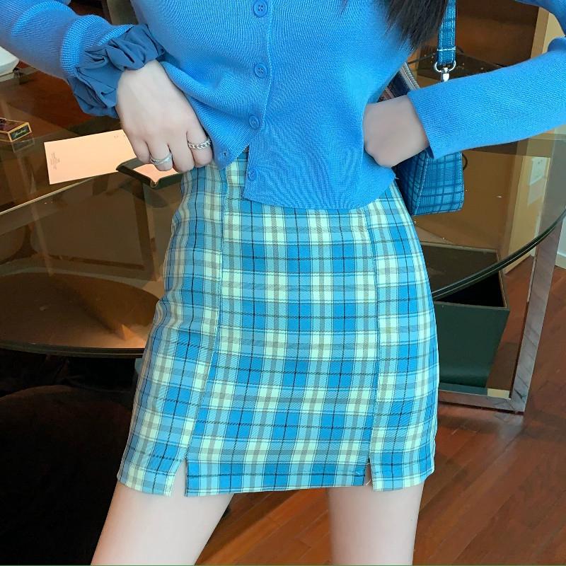 Chân Váy Ôm Hông Hoa Văn Kẻ Ô Phong Cách Retro Thời Trang