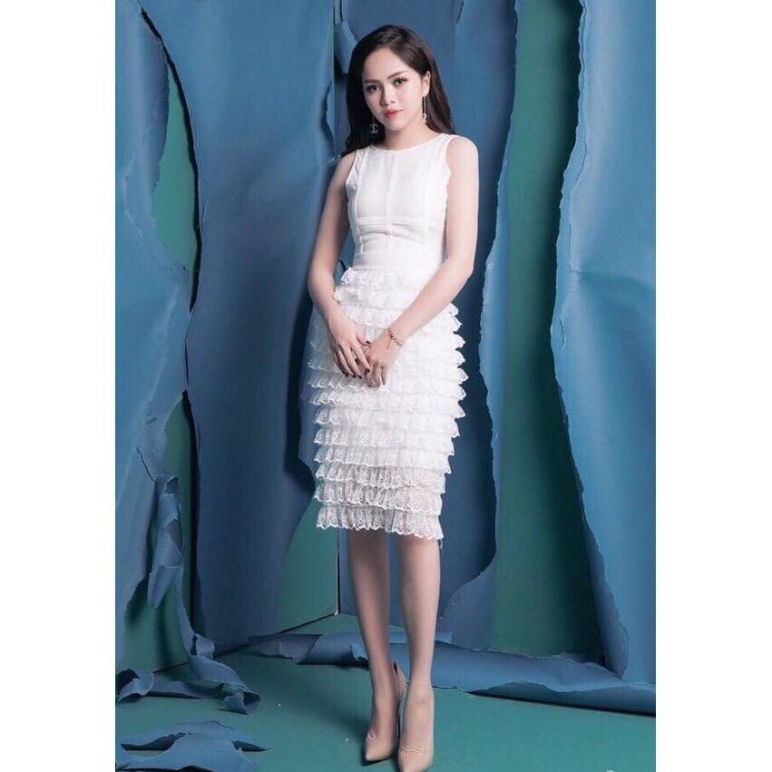 Đầm dự tiệc đi đám cưới, đầm ôm body đầm ren trắng Joven Dress lộng lẫy kèm ảnh thật và clip [kem hinh that]