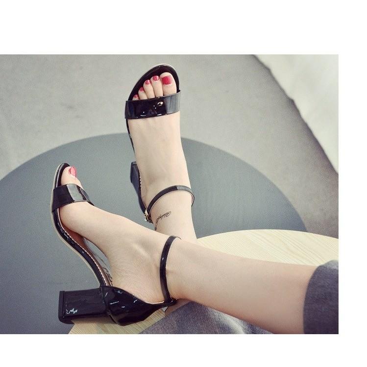 Giày VNXK Sandal 1 day ngang gót vuông 7cm