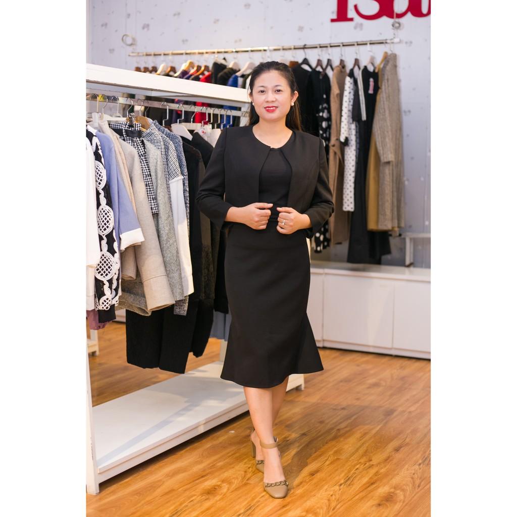 Váy + áo khoác màu đen