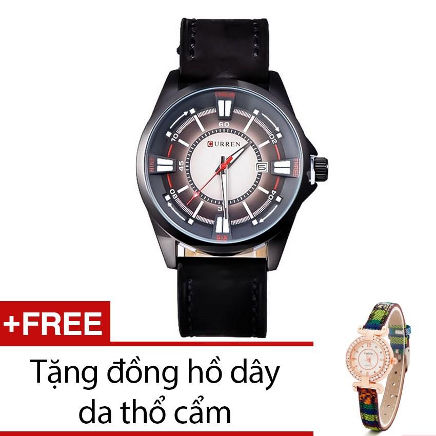 Đồng hồ nam Curren dây da đen QT43 tặng kèm 1 đồng hồ thổ câm
