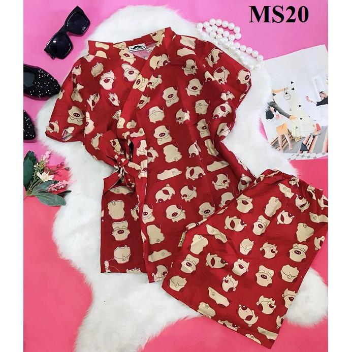 Bộ Đồ Pijama Áo Buộc Dây Chéo Hình Cún Đáng Yêu MS20 (ĐỎ)