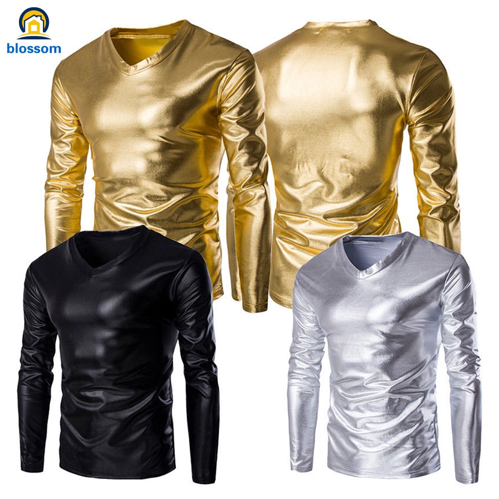 Hình ảnh Men Casual T-shirt Long Sleeve V Neck Metallic Shiny Wet Look Solid Color Tops Costume Slim Fit Shirts M-2XL