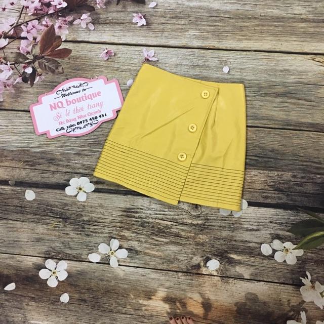 Freeship Chân váy da màu vàng đắp chéo có quần ảnh thật