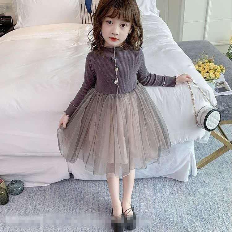 (E062) Váy bé gái tay dài cổ cao cúc họa tiết thời trang chân váy xòe lưới cực xinh siêu đáng yêu dễ thương mẫu mới