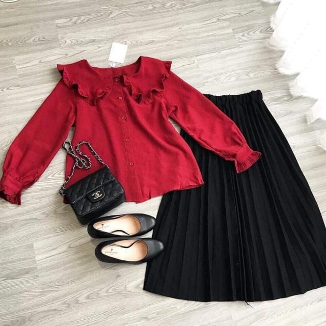 Set áo bánh bèo+chân váy dài