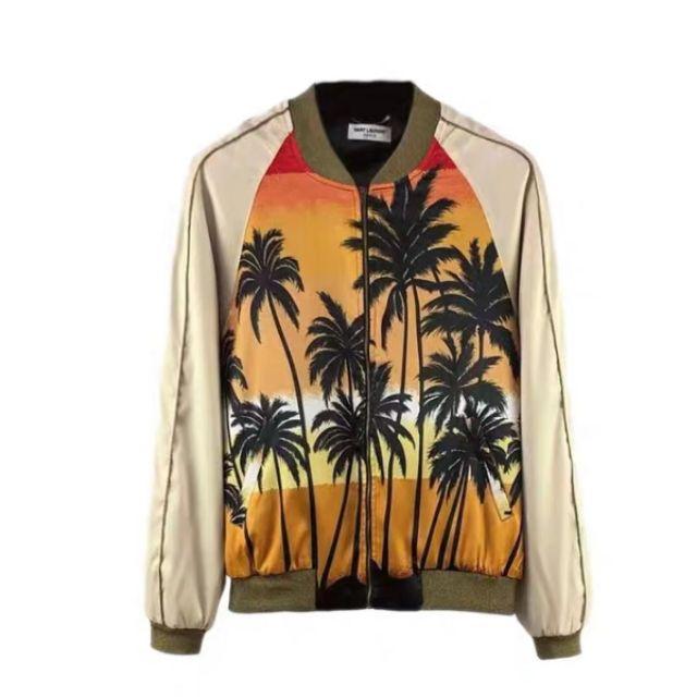 Sẵn_áo khoác bomber aloha sunset palm tree