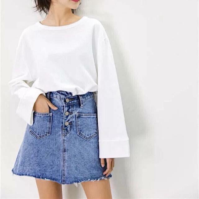 Chân váy bò cạp lệch Korea