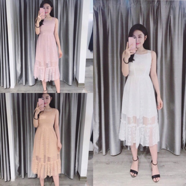 Váy ren maxi cổ vuông tiểu thư