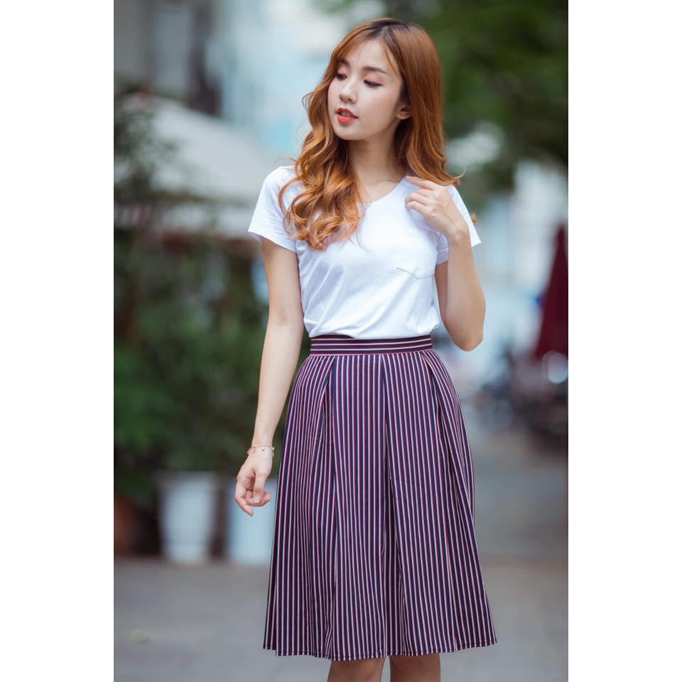 NEW Chân váy kẻ xếp ly thời trang CVCC