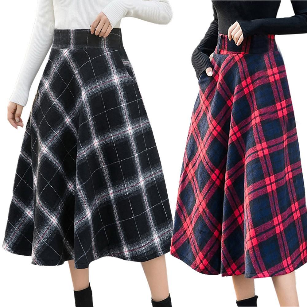 Chân váy dài lưng thun họa tiết caro thời trang cho nữ