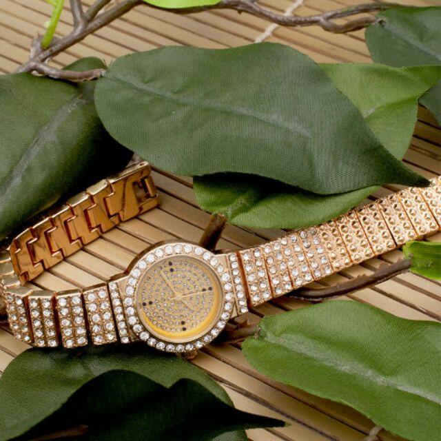 [Mã WTCHJAN giảm 20K ] Đồng hồ nữ wacth jhw mặt tròn dây kim loại đính đá vàng