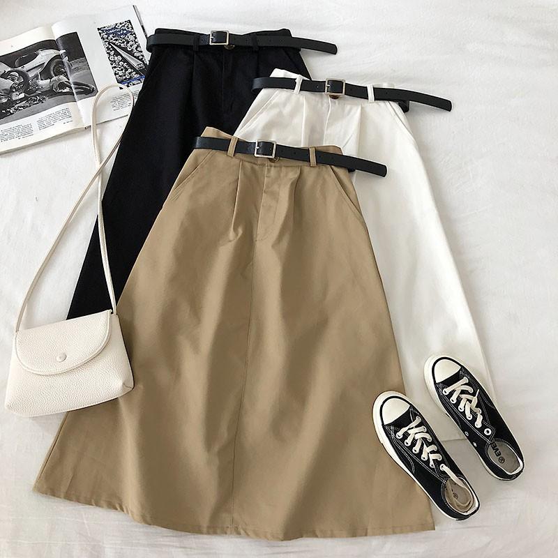 Chân Váy Chữ A Lưng Cao Màu Trơn Thời Trang Mùa Xuân 2020