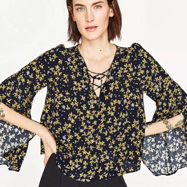 Áo cổ đan dây tay xoè xẻ hãng Zara hàng VNXK sale lẻ size