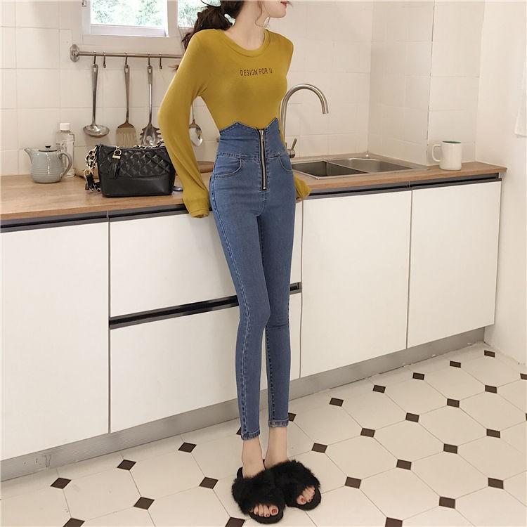 Quần Jean Skinny Lưng Cao Co Giãn Tốt Kiểu Hàn Quốc Cá Tính
