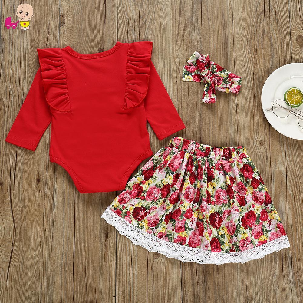 Set romper tay dài +chân váy in hoa+băng đô đáng yêu dành cho bé gái
