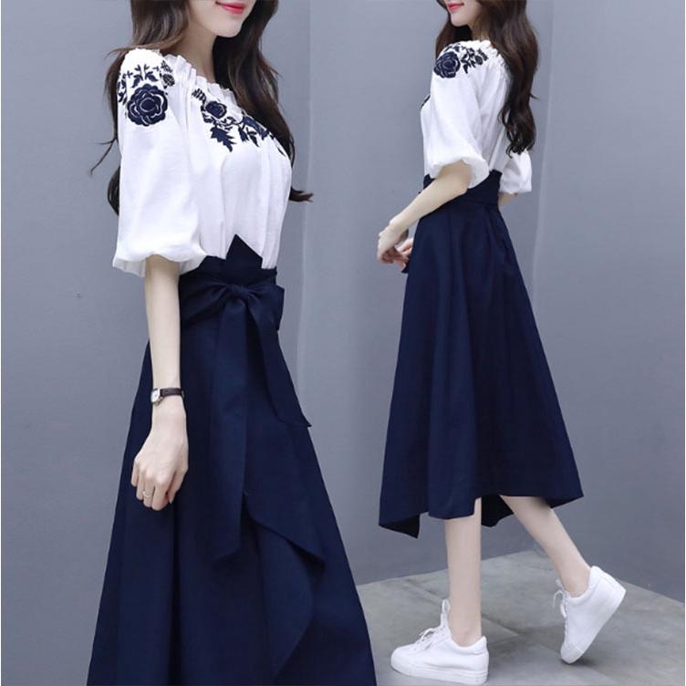 Set Áo Tay Dài + Chân Váy Thời Trang 2020 Dành Cho Nữ