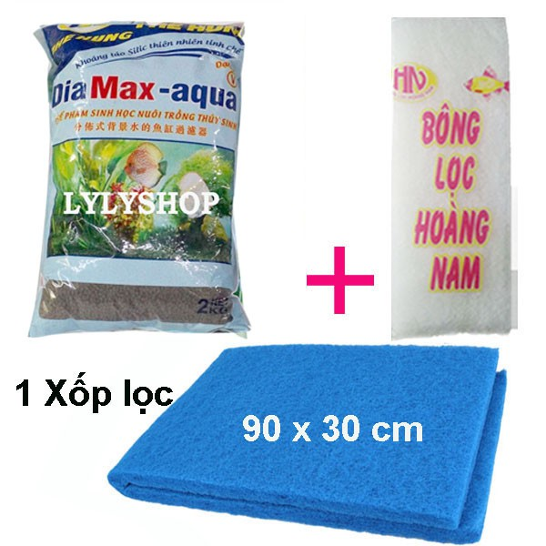 COMBO XỐP LỌC BỂ CÁ 90X30CM + BÔNG LỌC + Đất nền thủy sinh DIA MAX- AQUA ( 2 KG) giàu dinh dưỡng, tốt cây trồng