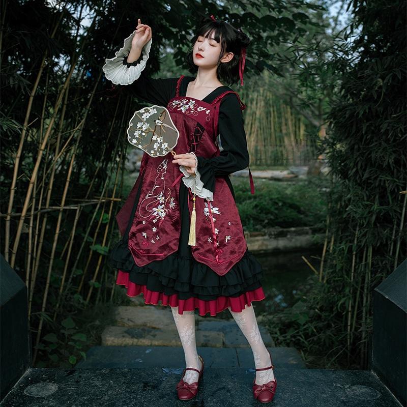 Set đầm yếm Lolita phong cách Trung Hoa thêu hoa trắng và mèo (mặc được 2 kiểu)