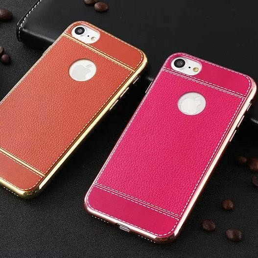 KST| iPhone 11 Pro Max X XS 6 6s 7 8 Plus XR 5 5s SE Orange&Pink Classic Lichi Leather Soft Case