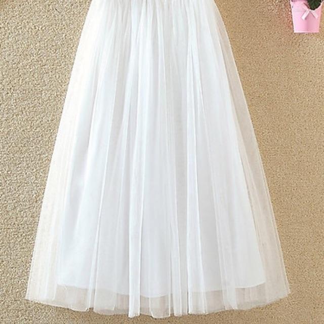 Chân váy dài trắng