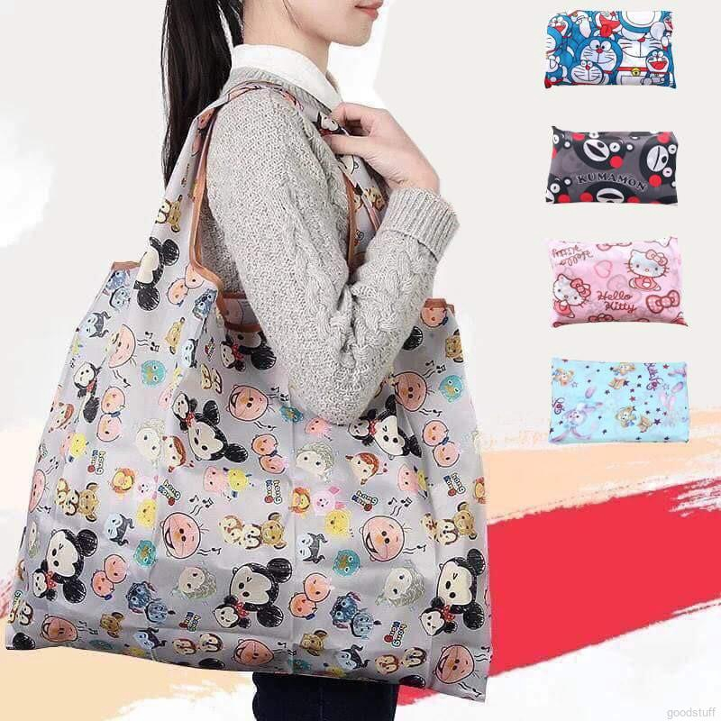 Cartoon Eco Bag Polyester Large Two-in-One Folding Shopping Bag