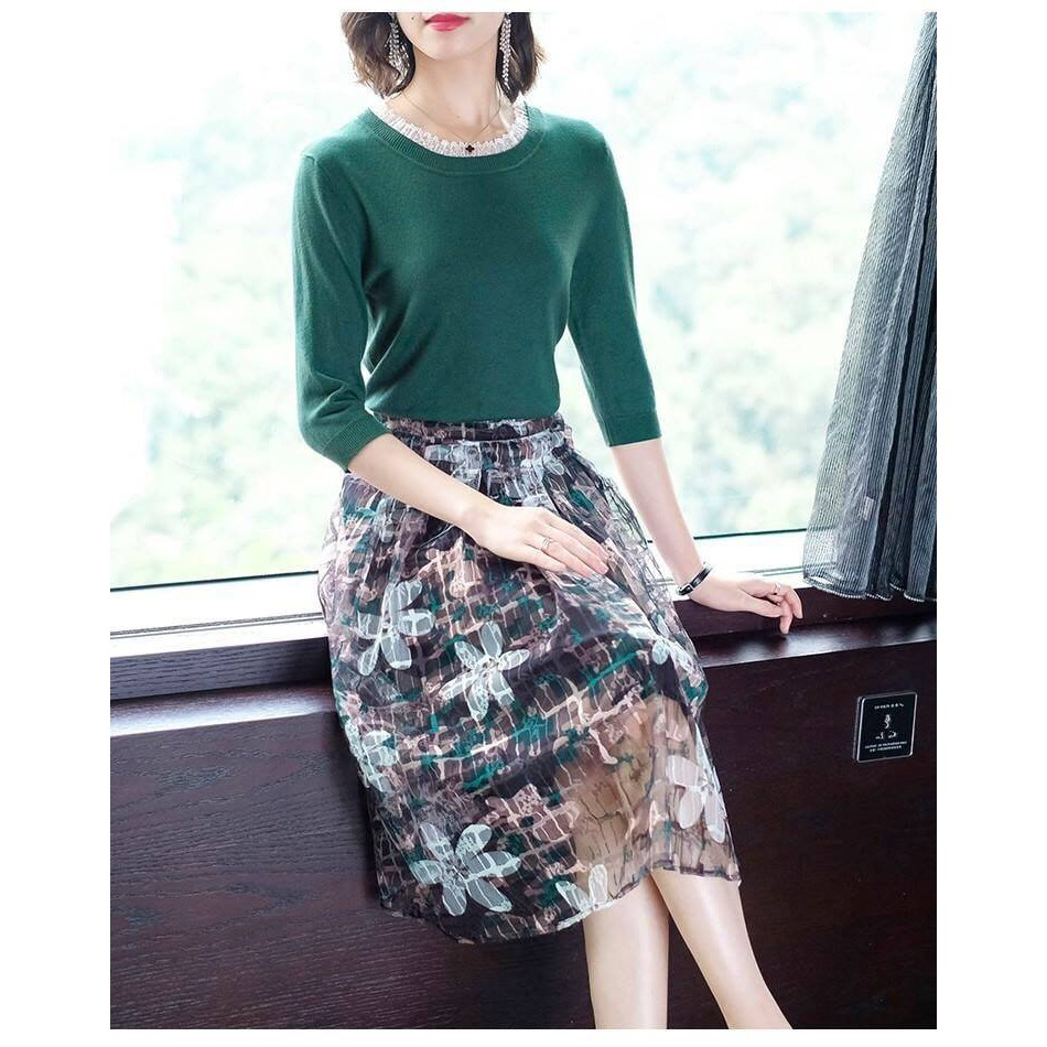 Hàng Quảng Châu - Set đầm áo len xanh + chân váy xòe hoa siêu xinh - ST76345