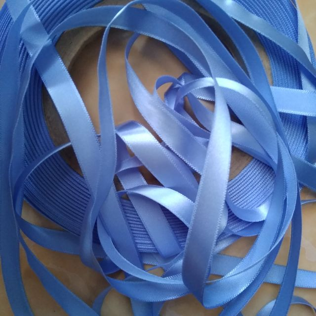 Ruy băng satin màu xanh hoà bình 1cm