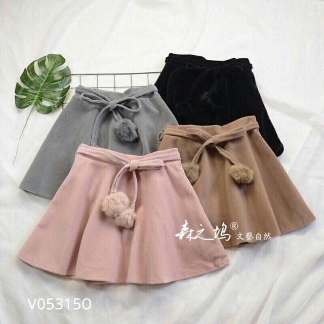 Chân váy dạ buộc nơ cục bông (hồng, nâu, xám, đen)