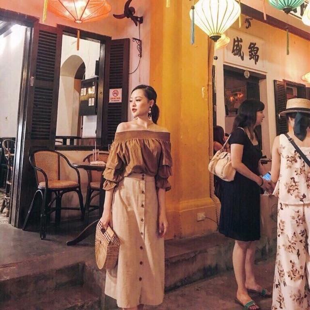 Set áo trễ vai + Chân váy dài