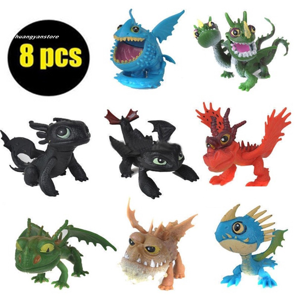 【HY】8Pcs How To Train Your Dragon Night Fury Toothless Action Figures Kids Toys