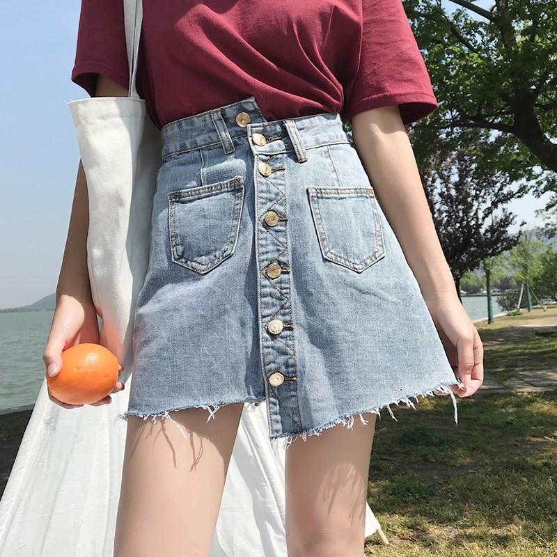 Chân Váy Jean Chữ A 2020 Thời Trang Nữ Tính