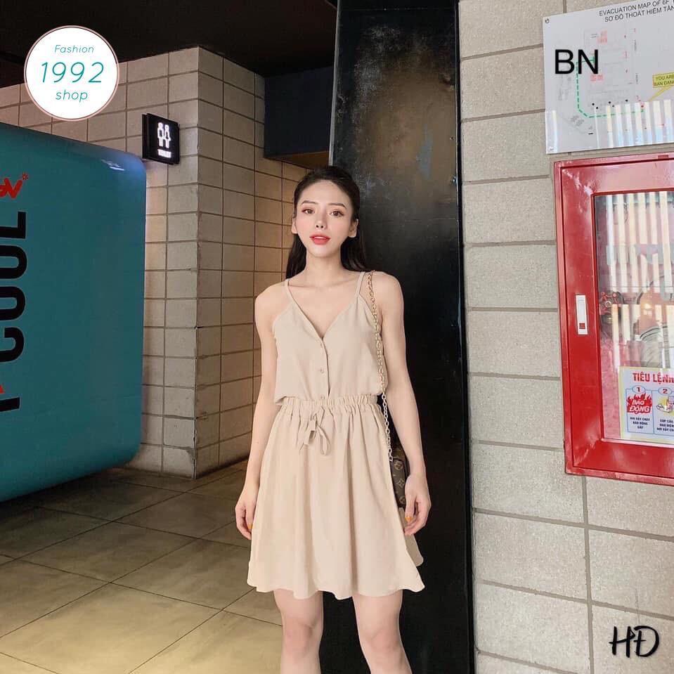 [V] set bộ đô đũi áo 2 dây cúc dọc + chân váy đũi BN 86675