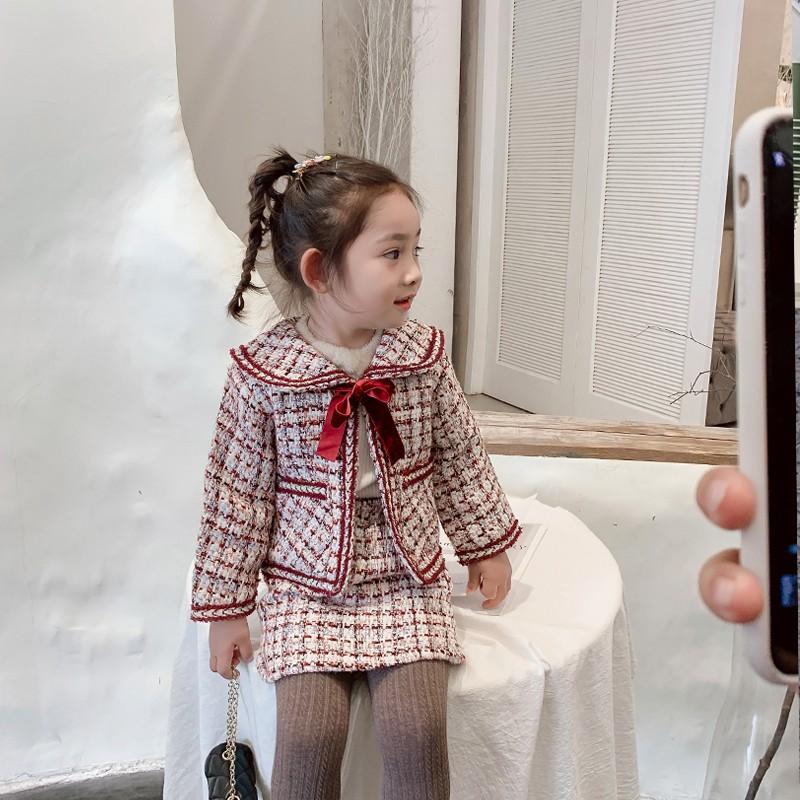 Bộ Áo Khoác + Chân Váy Ca Rô Xinh Xắn Dành Cho Bé Gái