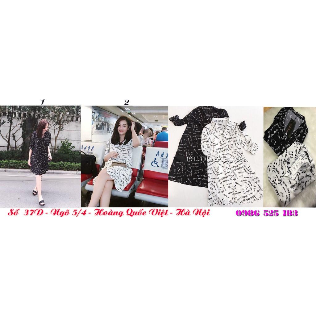 HOT Đầm lụa in hình nốt nhạc thời trang