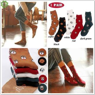Hình ảnh Cod Qipin 1 Pair Lovely Women Men Cotton Socks Funny Dog Animal Pattern Casual Candy Ankle Sock