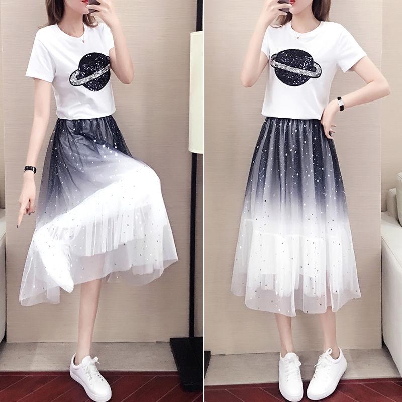 Set áo thun tay ngăn kèm chân váy màu gradient kiểu dáng mùa hè cho nữ