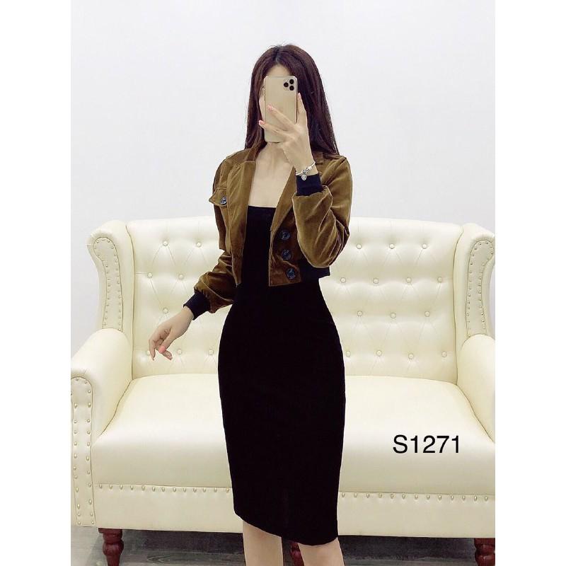 Set áo khoác nhung + đầm đen umi S1271 Medushop kèm ảnh thật