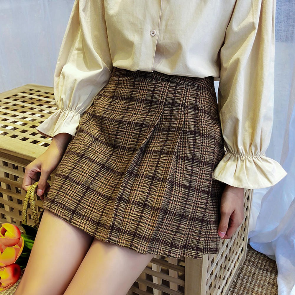 Chân Váy Len Lưng Cao Kẻ Sọc Caro Thời Trang Mùa Thu 25635 Cho Nữ