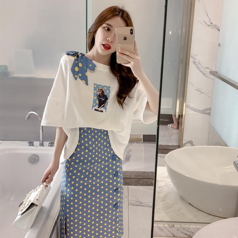 Set Áo Thun Ngắn Tay + Chân Váy Chấm Bi Đáng Yêu Cho Bé Gái